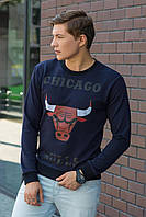 Мужской молодежный легкий свитшот с манжетами принт Chicago Bulls темно-синий
