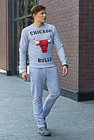 Мужской молодежный легкий свитшот с манжетами принт Chicago Bulls серый