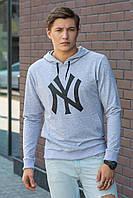 Спортивная мужская худи кенгурушка с капюшоном и карманом спереди, эмблема New York серая