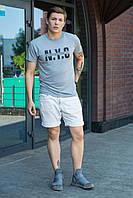 Классическая повседневная мужская футболка легкая с надписью однотонная серая