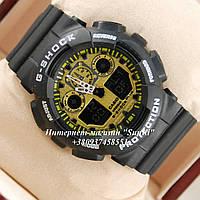Неубиваемые спортивные наручные часы Casio G-shock GA-100 реплика разных цветов Черный Золотистый Черный