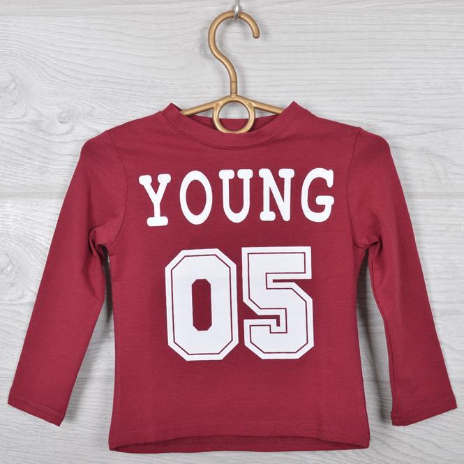 """Батник детский """"Young 05"""" для мальчиков. 2-6 лет (92-116 см рост). Бордо. Оптом."""