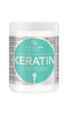 Крем-маска для волосся з кератином і з ектрактом молочного протеїну Kallos Keratin 1000 мл, фото 2
