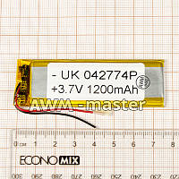 Аккумулятор 042774 для China (Li-ion 3.7В 1200мА·ч), (74*27*4 мм) 2 контакта (провода)