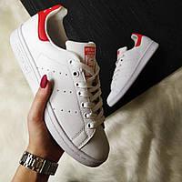 Кроссовки Adidas Stan Smith white/red. Живое фото. Топ качество (Реплика ААА+)