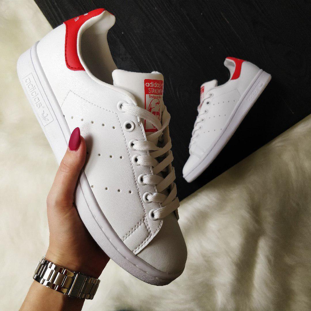 newest 2c65a 87c37 Кроссовки Adidas Stan Smith white/red. Живое фото. Топ качество (Реплика  ААА+)