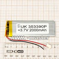 Аккумулятор 353390 для China (Li-ion 3.7В 2200мА·ч), (90*33*4 мм) 3 контакта (провода)