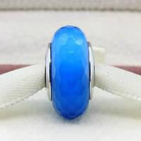 Шарм бусина Pandora Пандора Муранское граненое голубое стекло