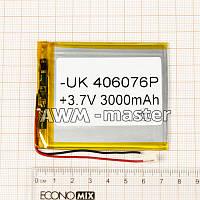 Аккумулятор 406076 для China (Li-ion 3.7В 3000мА·ч), (76*60*4 мм) 2 контакта (провода)