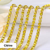 Стразовая цепочка, цвет Citrine, ss6 (2mm), металл золото, 1м