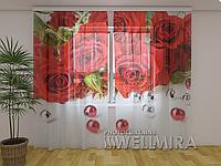 ФотоТюль Розы и бусы 250 см х 260 см