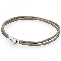 Текстильный браслет с серебряной застежкой