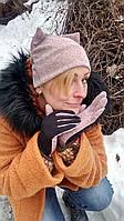 Шапка тёплая с ушками из трикотажа с перчатками