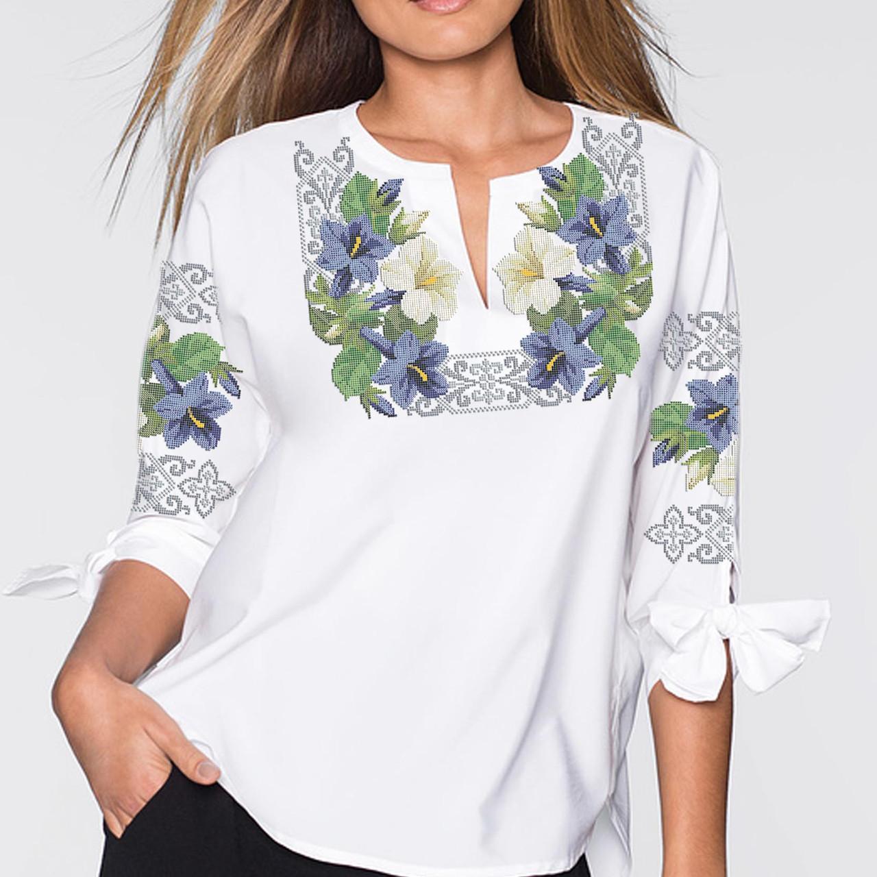Заготовка вишиванки жіночої сорочки та блузи для вишивки бісером Бисерок  «Казкова квітка» (Б-80 )