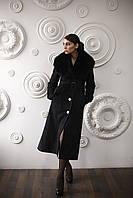Модная женская дубленка средней длины Д-69 из искусственного дубляжа с натуральным мехом тоскано