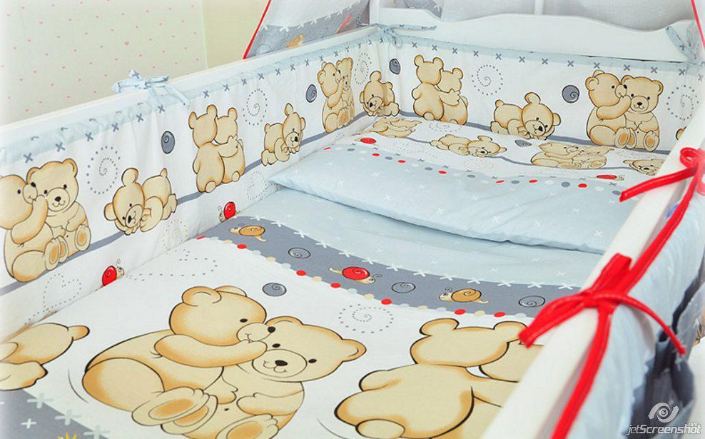 Бортики в детскую кроватку защита бампер Мишка улитка серый
