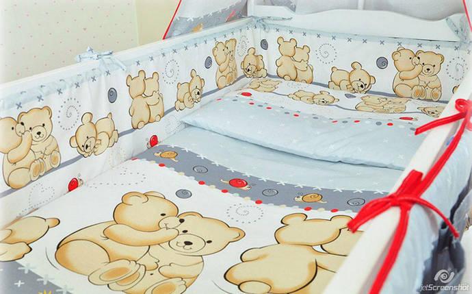 Бортики в детскую кроватку защита бампер Мишка улитка серый, фото 2