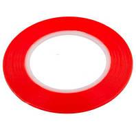 Скотч двухсторонний ширина 2мм красный