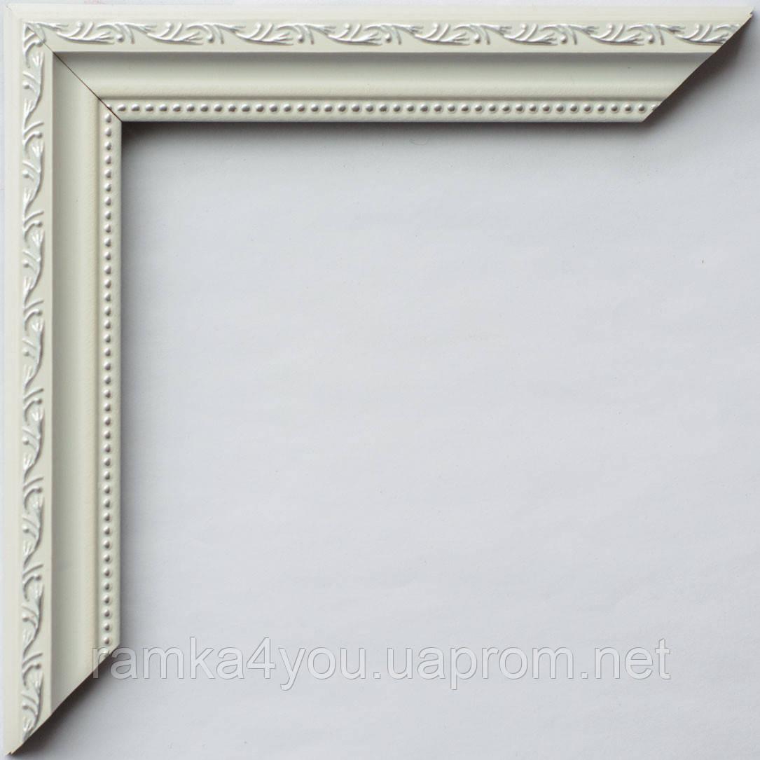 Рамка 40х50 2415-13MF белая с серебром