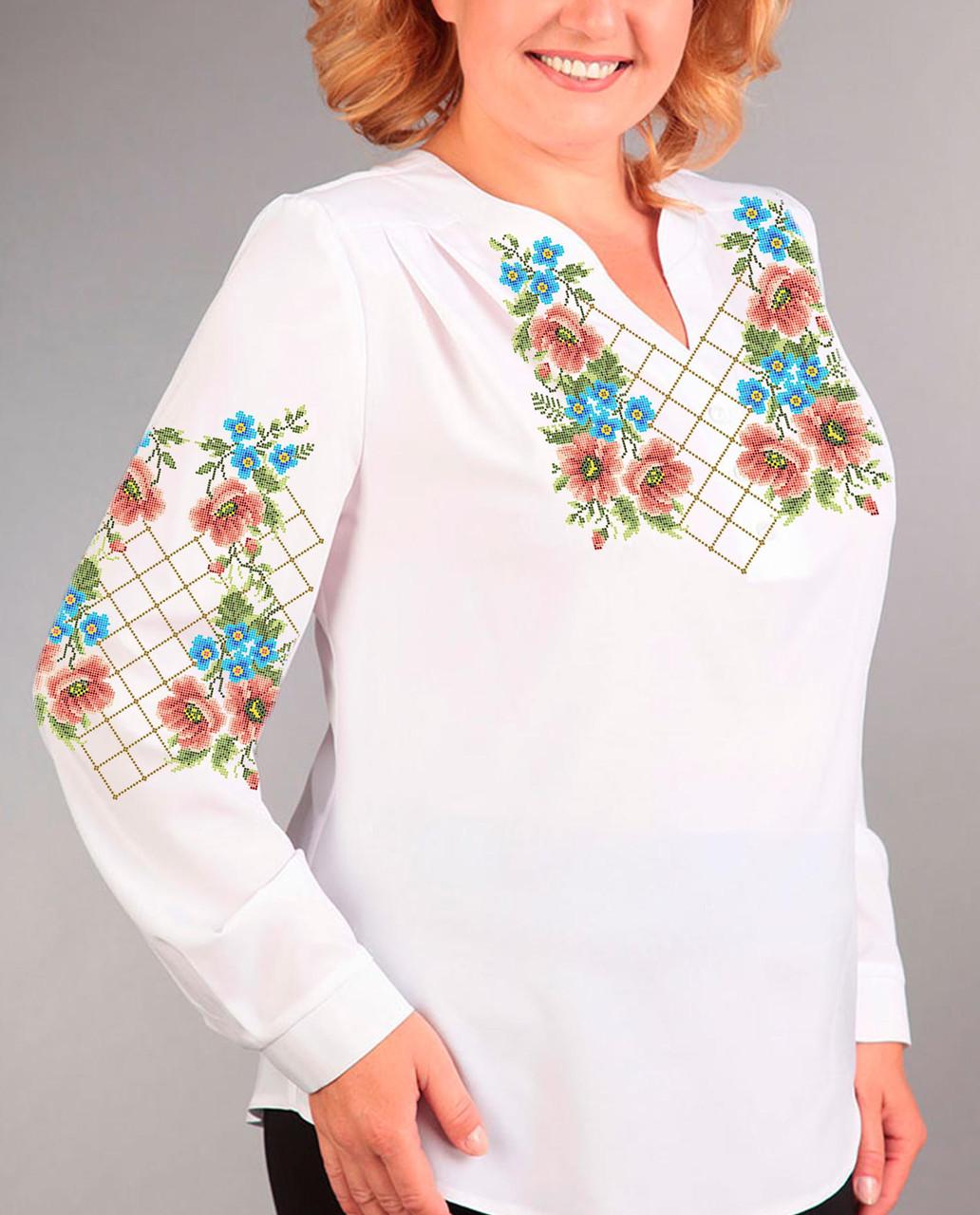 Заготовка вишиванки жіночої сорочки та блузи для вишивки бісером Бисерок «Гра квітів» (Б-77 )