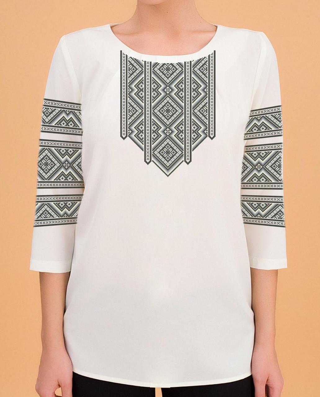 Заготовка вишиванки жіночої сорочки та блузи для вишивки бісером Бисерок «Монохром» (Б-76 )