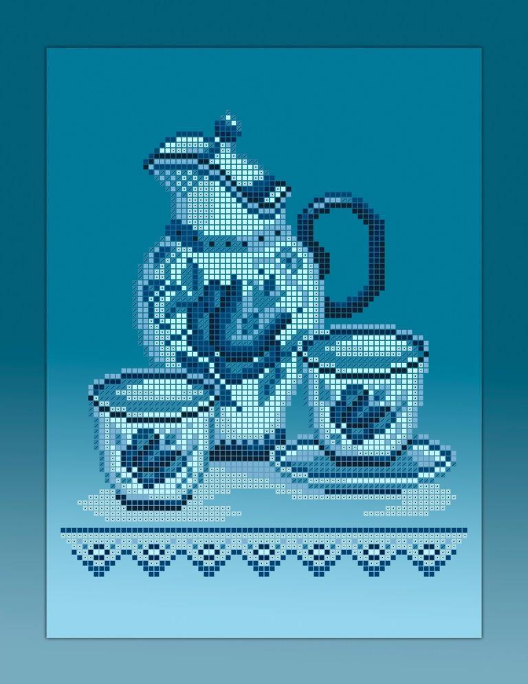 Схема для вишивки та вишивання бісером Бисерок «Кухонний натюрморт-3 голубий фон» (A4) 20x25 (ЧВ-3354-Г (10))