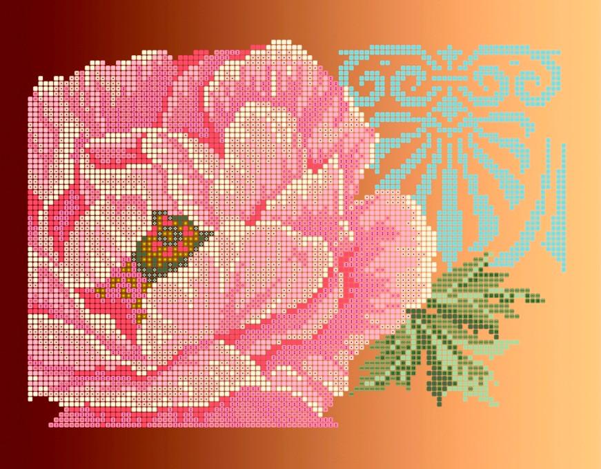 Схема для вишивки та вишивання бісером Бисерок квіти «Піон» (A4) 20x25 (ЧВ-3165(10))