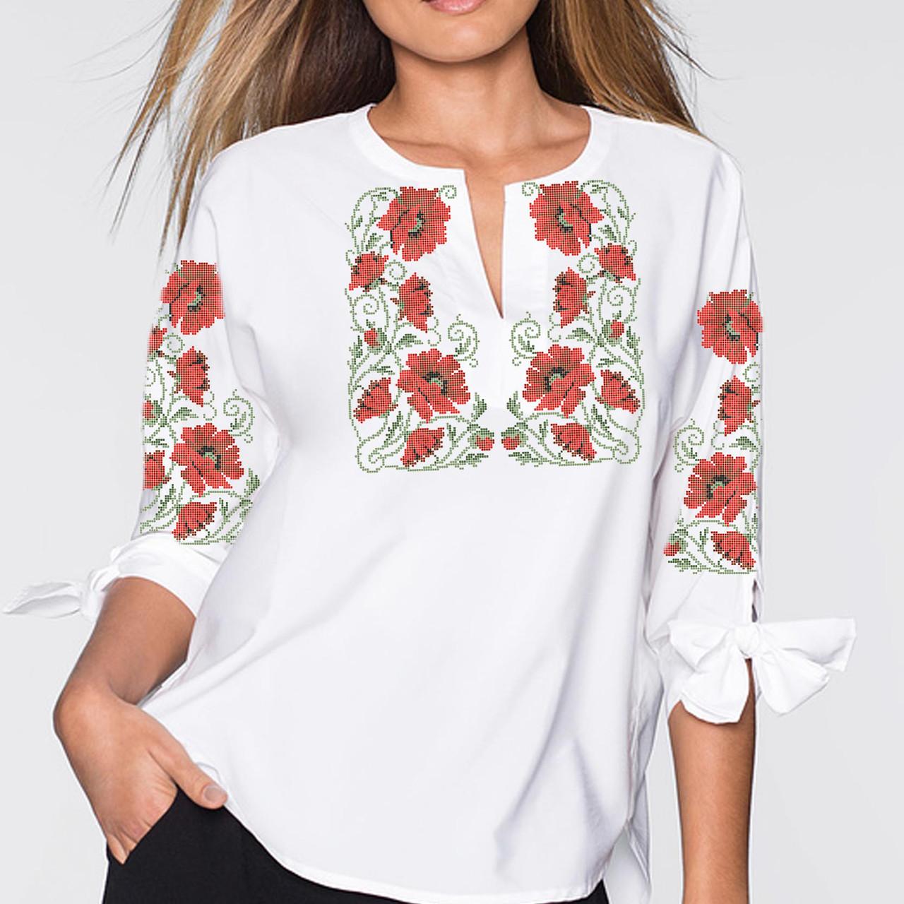 Заготовка вишиванки жіночої сорочки та блузи для вишивки бісером Бисерок «Маки в завитках» (Б-27 )