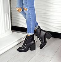Демисезонные ботиночки  Violla каблук 10см, материал натуральная кожа, внутри флис. Цвет черный