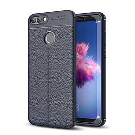 Чехол накладка для Huawei P Smart | Enjoy 7S силиконовый, Фактура кожи, темно-синий
