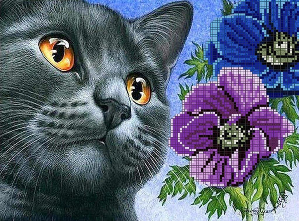 Схема для вишивки та вишивання бісером Бисерок «Кіт з анемонами» (A4) 20x25 (ЧВ-3460 (10))