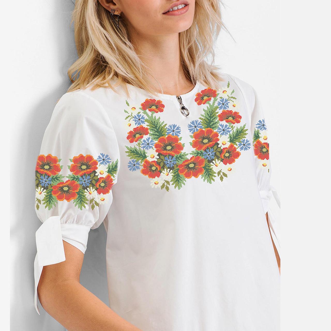 Заготовка вишиванки жіночої сорочки та блузи для вишивки бісером Бисерок «Польовий Букет» (Б-08 )