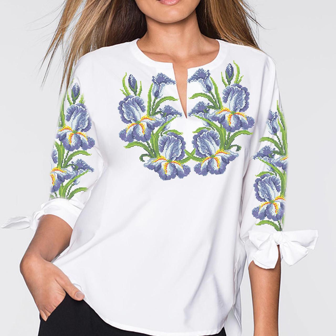 Заготовка вишиванки жіночої сорочки та блузи для вишивки бісером Бисерок «Іриси» (Б-03 )