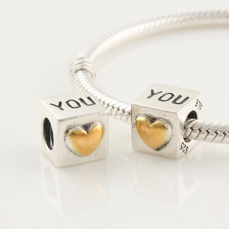 Шарм бусина Pandora Пандора  Кубик Love You