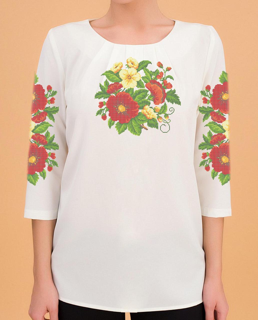 Заготовка вишиванки жіночої сорочки та блузи для вишивки бісером Бисерок «Мальви» (Б-02 )