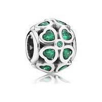 Шарм бусина Pandora Пандора Зеленые цветы