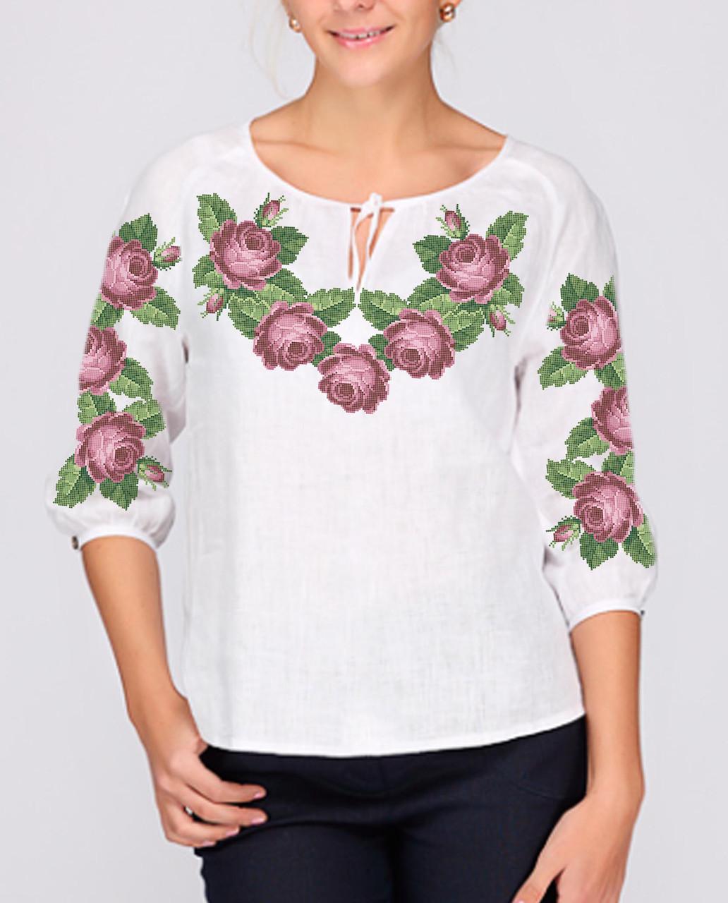 Заготовка вишиванки жіночої сорочки та блузи для вишивки бісером Бисерок «Рожеві троянди» (Б-01 )