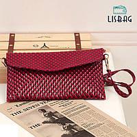 Женская бордовая сумка-клатч небольшого размера