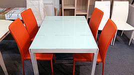 Стіл обідній AF1038CDT akh, скло-біле, каркас-білий