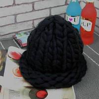 Женская шапка из крупной вязки Хельсинки черная