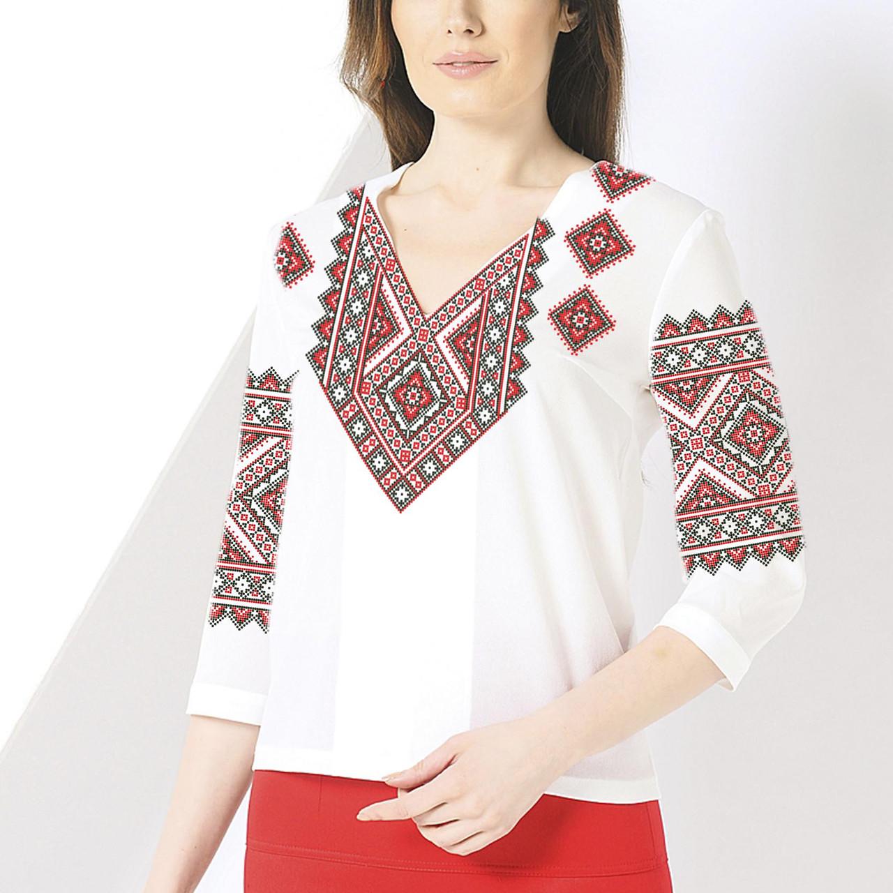 Заготовка вишиванки жіночої сорочки та блузи для вишивки бісером Бисерок  «Орнамент 73» (Б-73 )