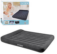 Велюровый надувной матрас Intex 66769 двуспальный с подголовником (203*152*23 см)