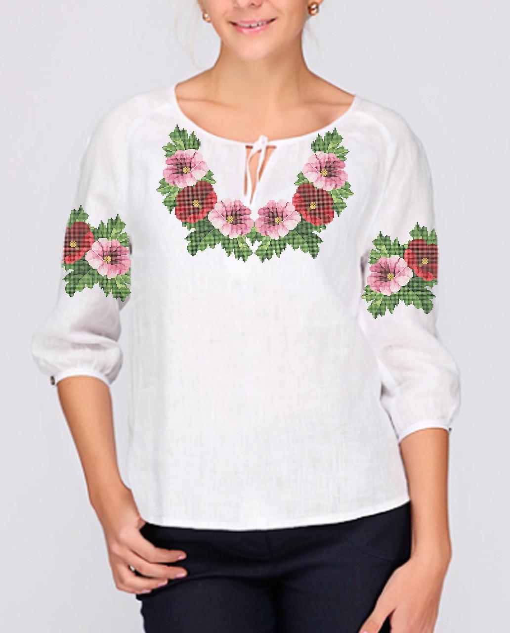 Заготовка вишиванки жіночої сорочки та блузи для вишивки бісером Бисерок  «Мальви віночок» (Б-56 ГБ) Габардин