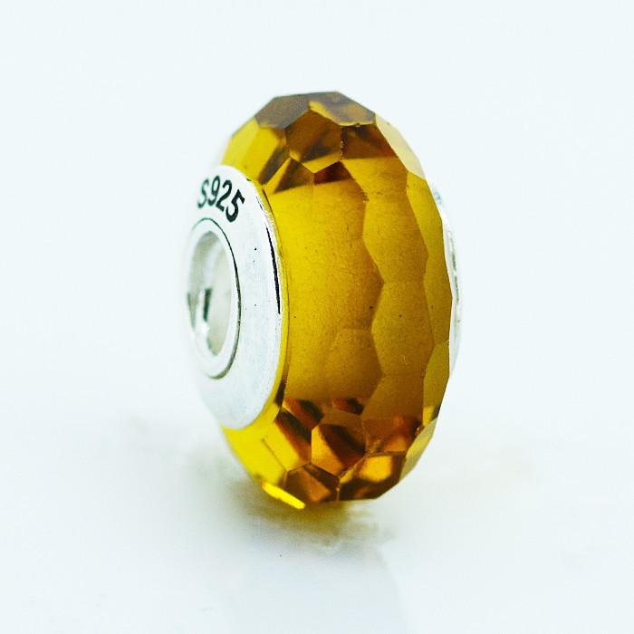 Шарм бусина Pandora Пандора Муранское граненое желтое стекло