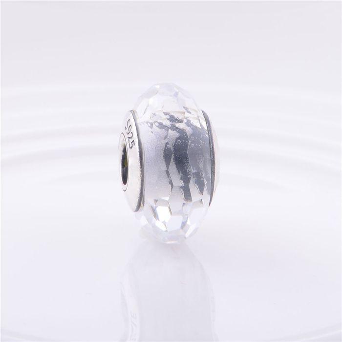Шарм бусина Pandora Пандора Муранское граненое белое-прозрачное стекло