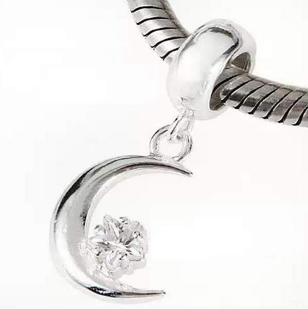 Шарм бусина Pandora Пандора Подвеска Месяц с цветочком