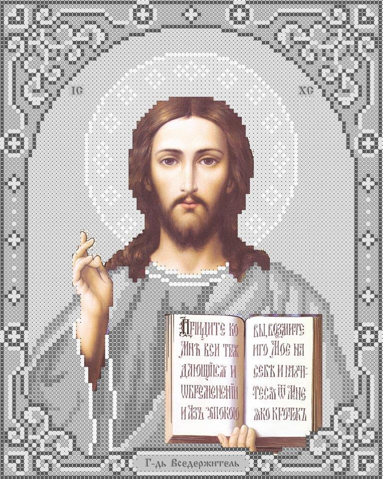 Схема для вишивки та вишивання бісером Бисерок ікона «Ісус 3446-1с» (A4) 20x25 (ЧВ-3446-1с (10))