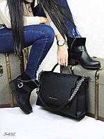 Демисезонные ботинки материал натуральная кожа + замша, внутри байка, цвет черный
