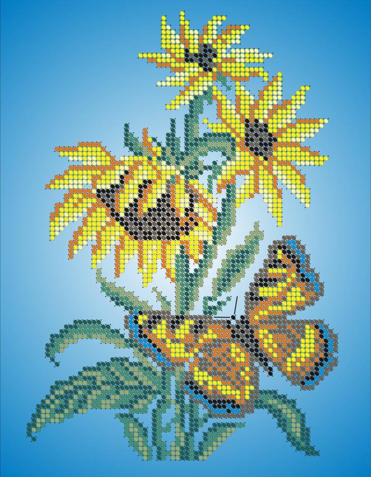 Схема для вишивки та вишивання бісером Бисерок «Метелик і соняшник» (A4) 20x25 (ЧВ-3006)