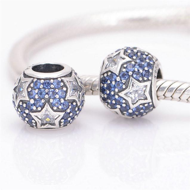 Шарм бусина Pandora Пандора PaveСинее сердце цирконий с белыми звездами